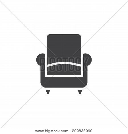 Sofa or armchair icon vector, filled flat sign, solid pictogram isolated on white. Symbol, logo illustration.