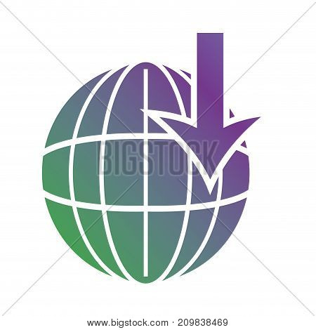 line global map with arrow down symbol vector illustration