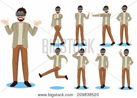 cartoon business man wears virtual reality headset on white background