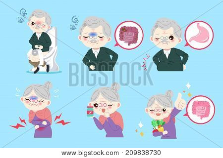 old people with belly problem on the blue background