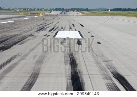 Skid marks on runway at the airport