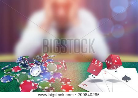Composite 3D image of red dice against man betting his house at poker game