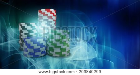 Digitally generated image of 3d gambling chips against blue glowing dots design pattern