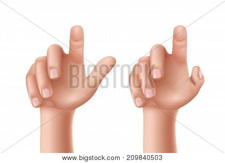 Set of vector illustrations of male or female hands with a raised index finger pointing upwards isolated on a white background.