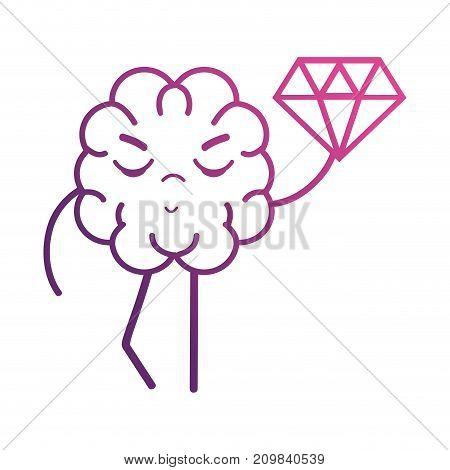line brain kawaii with dimond icon vector illustration
