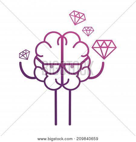 line brain kawaii with dimonds icon vector illustration