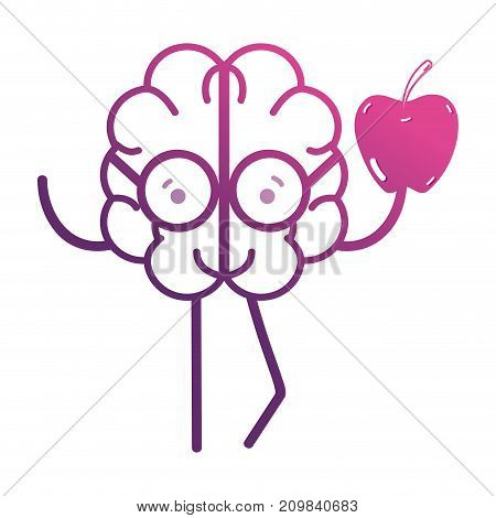 line kawaii brain with apple fruit vector illustration