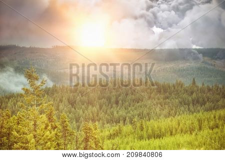 Digitally generated image of storm clouds  against scenic view of forest