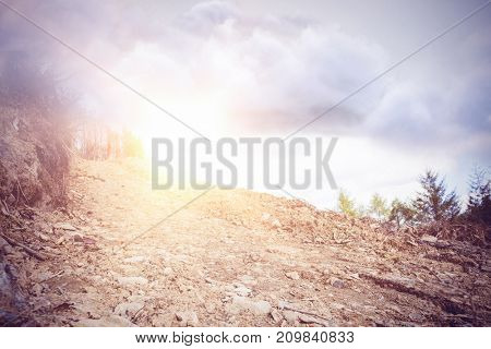 Vector image of cloud  against field against cloudy sky
