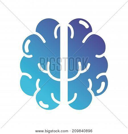 silhouette anatomy human brain icon vector illustration