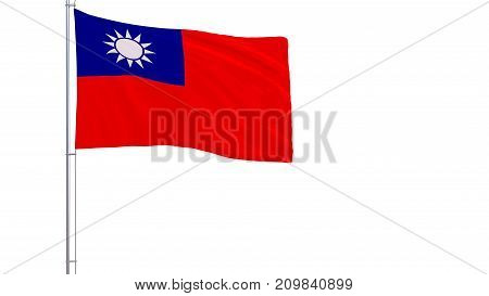 Flag of Taiwan - Republic of China on a flagpole fluttering in the wind on white background 3d rendering