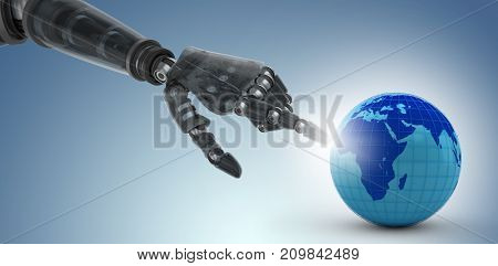 Cropped image of black hand of robot pointing against purple vignette