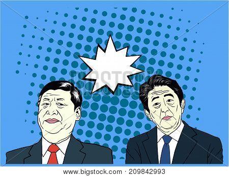 Xi Jinping And Shinzo Abe Pop Art, Flat Design, Vector Ilustration, Editorial