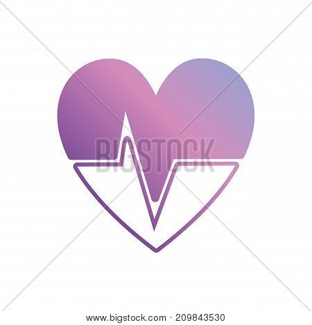 silhouette heartbeat with frequency vital sign vector illustration poster