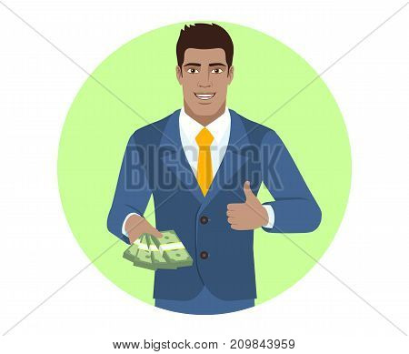 Businessman with money shows thumb up. Portrait of Black Business Man in a flat style. Vector illustration.