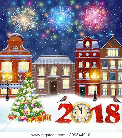 happy new year and merry Christmas winter old town street with christmas tree. fireworks in the sky. concept for greeting, postal card, invitation, template, 2018 clock