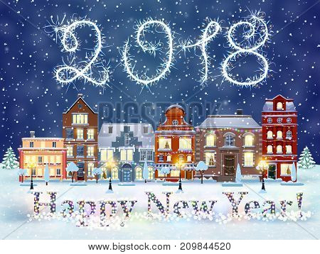 happy new year and merry Christmas winter old town street with trees. Christmas card with cityscape and fireworks. concept for greeting and postal card, invitation, template, vector illustration