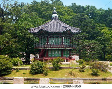 Old pagoda in a Park in Korea