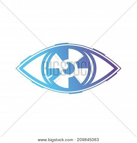 line virtual eye in the cyberspace reality game vector illustration