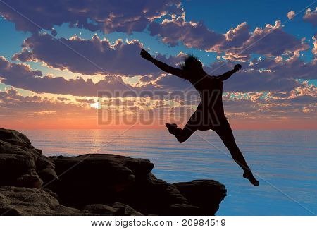 Silhouette of a girl jumping off a cliff.