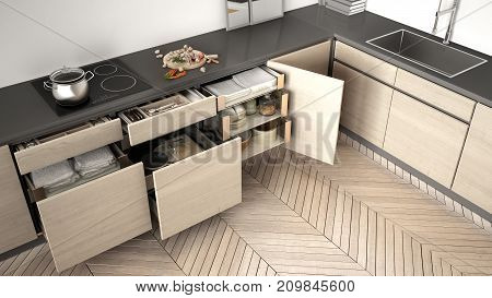 Modern Kitchen Top View, Opened Wooden Drawers With Accessories Inside, Solution For Kitchen Storage