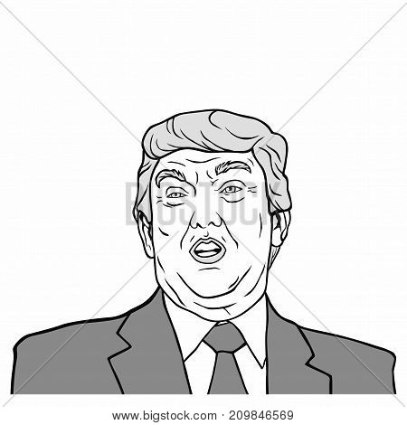 Donald Trump, The 45th President of The United States, Black And White Flat Design Vector Illustration, Editoria.