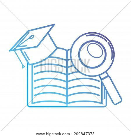 line notebook and cap graduation with magnifying glass vector illustration