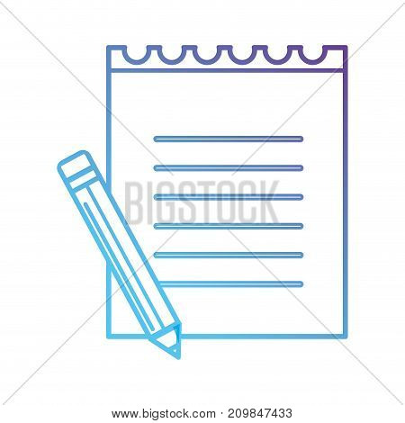 line paper notebook with pencil tool vector illustration