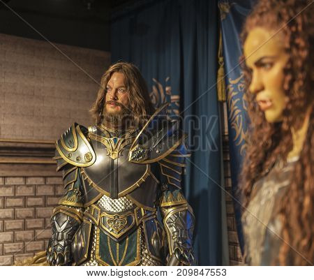 Berlin - March 2017: Warcraft personages wax figures in Madame Tussauds museum