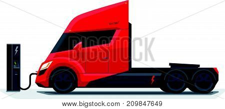 Flat vector illustration of a abstract futuristic red electric semi trailer truck in modern design with sleeper cabin charging at the charger station. Side view isolated on white background in cartoon style.