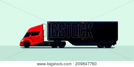 Flat vector illustration of an abstract futuristic red electric semi trailer truck with trailer in modern design with sleeper cabin. Electrifying the long-haul semi-tractor concept.
