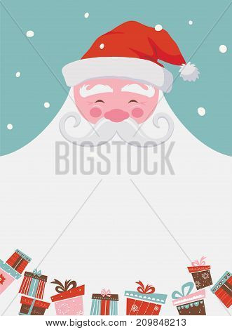 christmas santa poster or a card with a place for your text. vector illustration