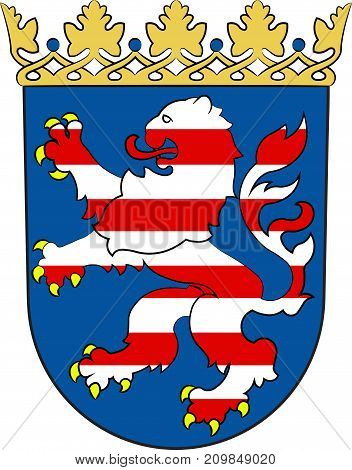 Coat of arms of Hesse is a federal state of Germany. Vector illustration