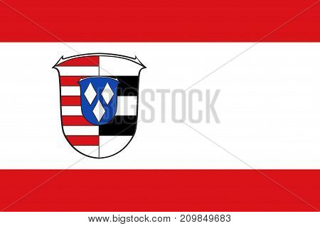 Flag of Gross-Gerau is a district in the south of Hesse Germany. Vector illustration