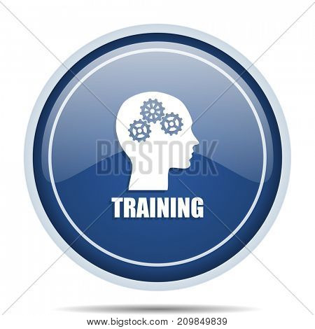 Training blue round web icon. Circle isolated internet button for webdesign and smartphone applications.