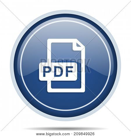 Pdf file blue round web icon. Circle isolated internet button for webdesign and smartphone applications.