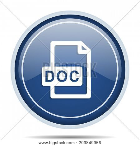 Doc file blue round web icon. Circle isolated internet button for webdesign and smartphone applications.