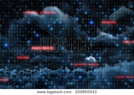 Virus background against view of cloudscape against sky at night