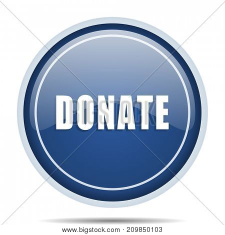Donate blue round web icon. Circle isolated internet button for webdesign and smartphone applications.