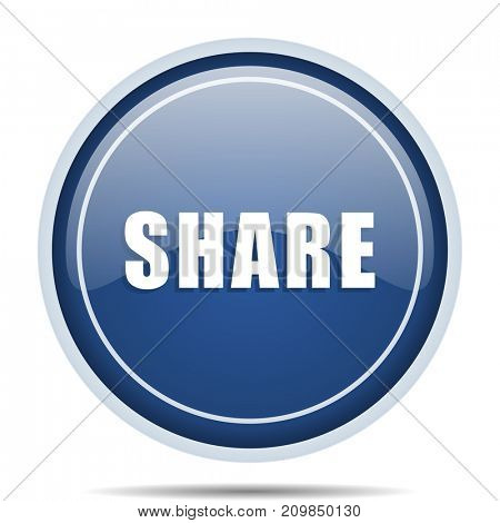 Share blue round web icon. Circle isolated internet button for webdesign and smartphone applications.