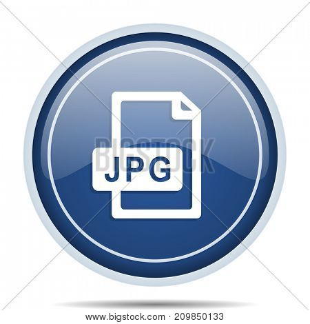 Jpg file blue round web icon. Circle isolated internet button for webdesign and smartphone applications.