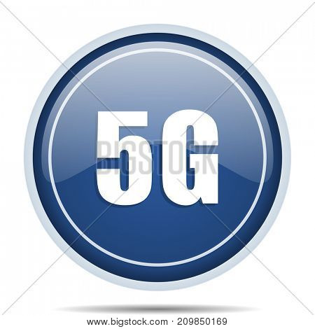 5g blue round web icon. Circle isolated internet button for webdesign and smartphone applications.