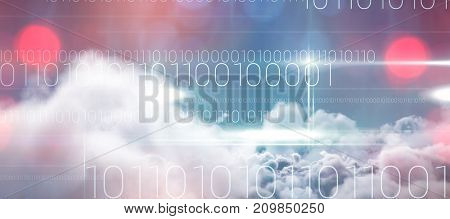 Blue technology design with binary code against idyllic view of white cloudscape against sky