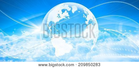 Idyllic view of white cloudscape against sky against global technology background