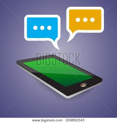 Tablet Computer with Green Screen and Two Speech Bubbles Isolated on Blue Gradient Background