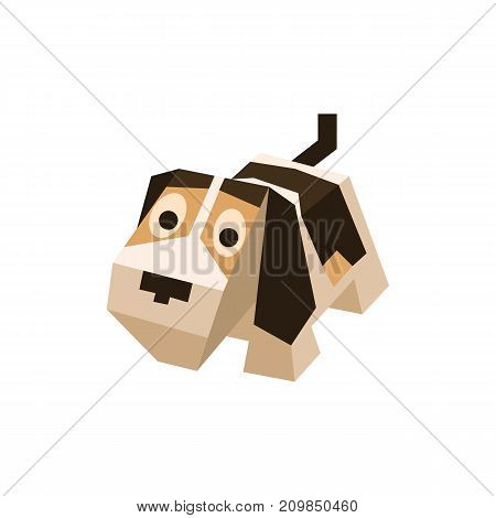 Vector breed isometric Beagle. Isolated cute isometry dog. Element of geometric dog for 3d game. Icon of domestic and home Beagle, puppy. Vector illustration of Beagle dog.