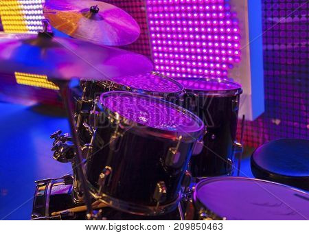 Drum kit at the discotheque. Musical instruments