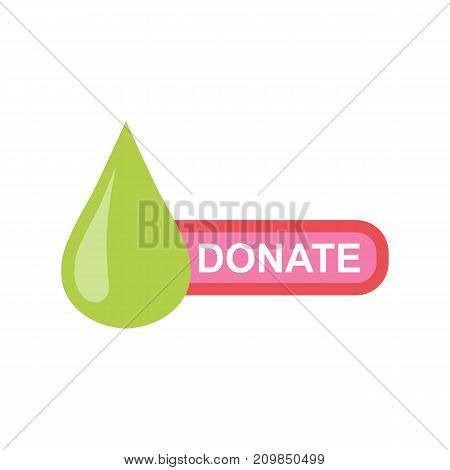 Donate sticker with green drop and pink button. Help icon donation. Gift charity. Isolated support design sign. Contribute, contribution, give money, giving symbol. Vector