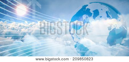 Global business graphic in blue against scenic view of bright sun over white cloudscape