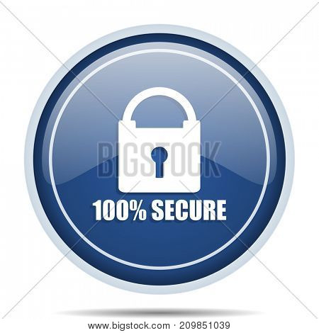 Secure blue round web icon. Circle isolated internet button for webdesign and smartphone applications.